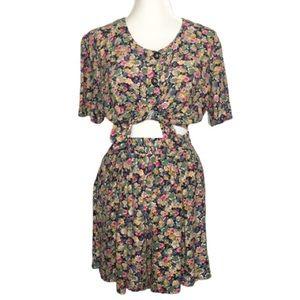 Vintage Fritzi California Floral Blouse Shorts Set
